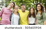 diverse group young people... | Shutterstock . vector #505605934