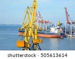 bulk cargo ship under port... | Shutterstock . vector #505613614