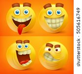 set of yellow smiley characters ... | Shutterstock .eps vector #505616749