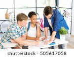 young office workers or... | Shutterstock . vector #505617058