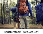 friends walking exploring... | Shutterstock . vector #505625824