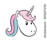 cute unicorn drawn icon vector... | Shutterstock .eps vector #505637254