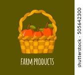 illustration with apple basket. ... | Shutterstock . vector #505642300