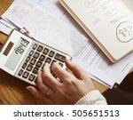 calculator calculate balance... | Shutterstock . vector #505651513