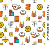 hanukkah seamless pattern... | Shutterstock .eps vector #505651759