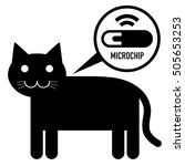 microchip in cat sign icon | Shutterstock .eps vector #505653253
