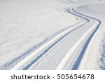car tire track on a empty...   Shutterstock . vector #505654678