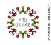 christmas wreath round frame...   Shutterstock .eps vector #505658674