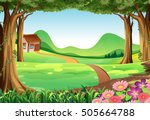 scene with house in the field... | Shutterstock .eps vector #505664788