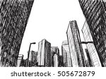 sketch city scape building in... | Shutterstock .eps vector #505672879