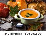 vegetarian pumpkin soup in pan. ... | Shutterstock . vector #505681603