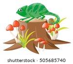 green lizard standing on log...