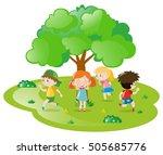 kids playing hide and seek in... | Shutterstock .eps vector #505685776