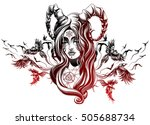 demon girl with birds behind | Shutterstock .eps vector #505688734