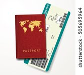 red passport cover with... | Shutterstock .eps vector #505695964