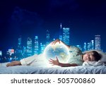cute boy in bed looking at... | Shutterstock . vector #505700860