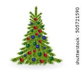 christmas tree with colorful... | Shutterstock .eps vector #505721590
