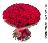 Stock photo big red roses bunch isolated on white background 505725040