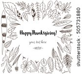 set doodle leaves. contains... | Shutterstock .eps vector #505731880