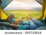 two people lying in tent with a ... | Shutterstock . vector #505733818