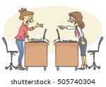 two woman coworkers arguing in... | Shutterstock .eps vector #505740304