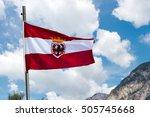 Austrian Flag With A Pole And...