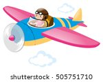 pilot flying in colorful... | Shutterstock .eps vector #505751710