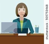 woman clerk in a bank office.... | Shutterstock .eps vector #505753468