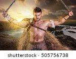 ancient warrior or gladiator... | Shutterstock . vector #505756738