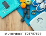 sports and workout equipment on ... | Shutterstock . vector #505757539