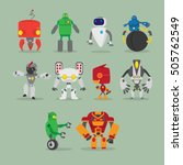 Set Of Robot Cute Icons And...