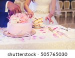 wedding. couple cutting the... | Shutterstock . vector #505765030