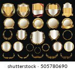 golden shields laurel wreaths... | Shutterstock .eps vector #505780690