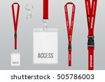 set of lanyard and badge. metal ... | Shutterstock .eps vector #505786003