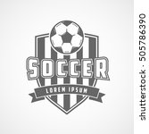 soccer emblem flat icon on... | Shutterstock .eps vector #505786390