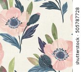 seamless watercolor floral... | Shutterstock . vector #505787728