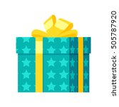 gift box  icon in flat style.... | Shutterstock . vector #505787920