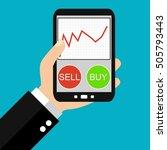 hand holding smartphone  buy or ...   Shutterstock . vector #505793443