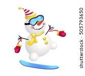 snowman on a snowboard.... | Shutterstock .eps vector #505793650