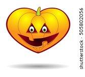 pumpkin jack halloween heart ... | Shutterstock .eps vector #505802056