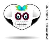 skull halloween heart  vector...   Shutterstock .eps vector #505806784
