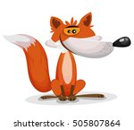 cartoon funny fox character ... | Shutterstock .eps vector #505807864