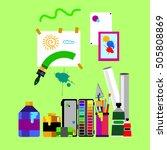 color  paint  brush  vector ... | Shutterstock .eps vector #505808869