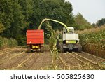 a forage harvester is busy... | Shutterstock . vector #505825630