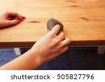 sandblasting the wood | Shutterstock . vector #505827796