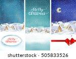 set of christmas illustrations. ... | Shutterstock . vector #505833526