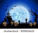 happy halloween card template ... | Shutterstock .eps vector #505833610