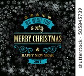 typographic retro christmas... | Shutterstock .eps vector #505845739