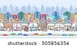 winter city street with trees... | Shutterstock .eps vector #505856356