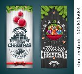 vector merry christmas greeting ... | Shutterstock .eps vector #505858684